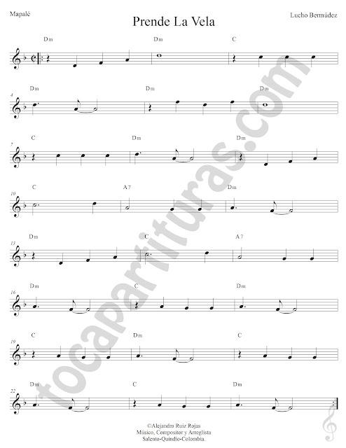 Prende La Vela Mapelé de Lucho Bermúdez Partitura Fácil con Acordes Prende La Vela Sheet Music with Chords