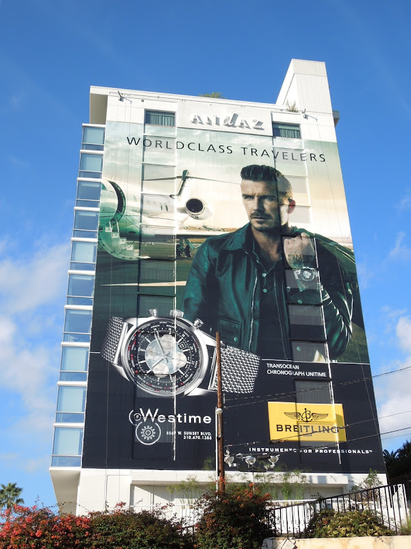 Giant David Beckham Breitling World Class Travelers watch billboard