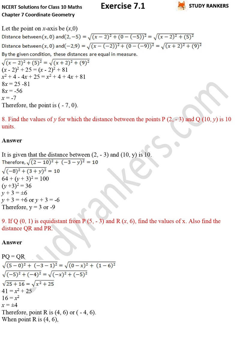 NCERT Solutions for Class 10 Maths Chapter 7 Coordinate Geometry Exercise 7.1 Part 5