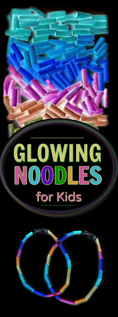 FUN CRAFTING:  Make glow-in-the-dark jewelry using pasta.  My girl will love this.