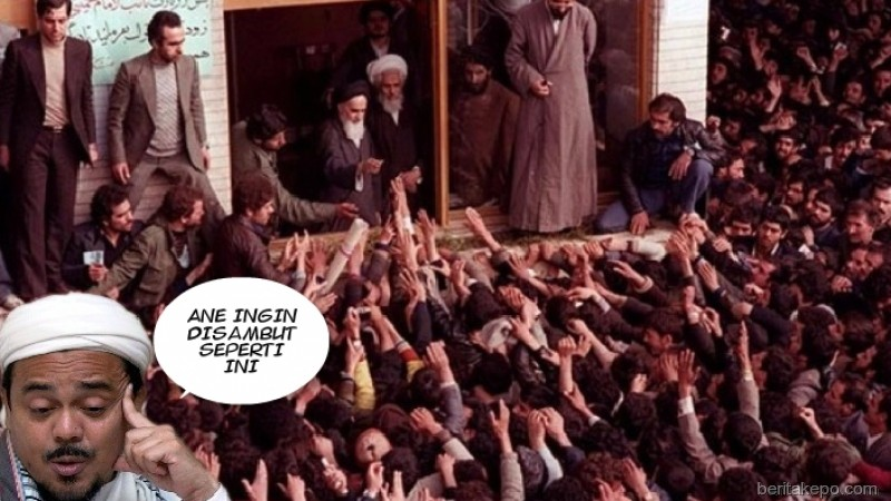Meme Rizieq ingin disambut seperti Khomeini
