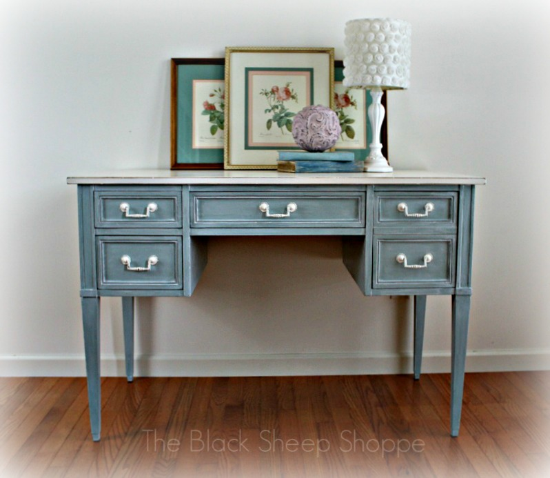 Vintage writing desk. Front view.