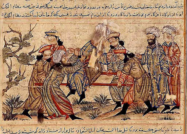 Um fanático do Velho da Montanha (turbante branco) assassina o vizir Nizam-al-mulk. Museu de Topkapi, Estambul