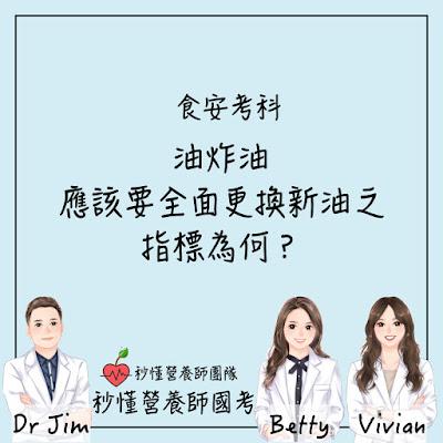 台灣營養師Vivian【秒懂營養師國考】油炸油應該要全面更換新油之指標為何?