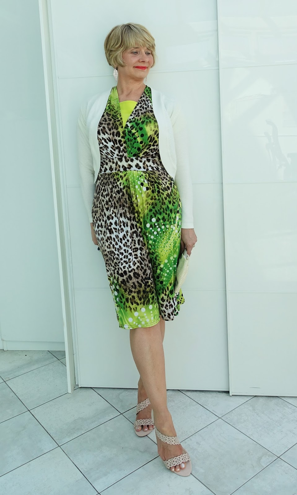 A flattering Joseph Ribkoff dress in leopard and lime worn with nude Lotus Cattleya sandals
