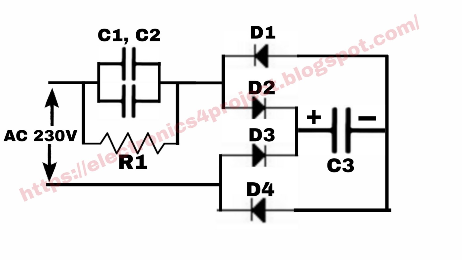 Electronics project: LED bulb driver circuit diagram