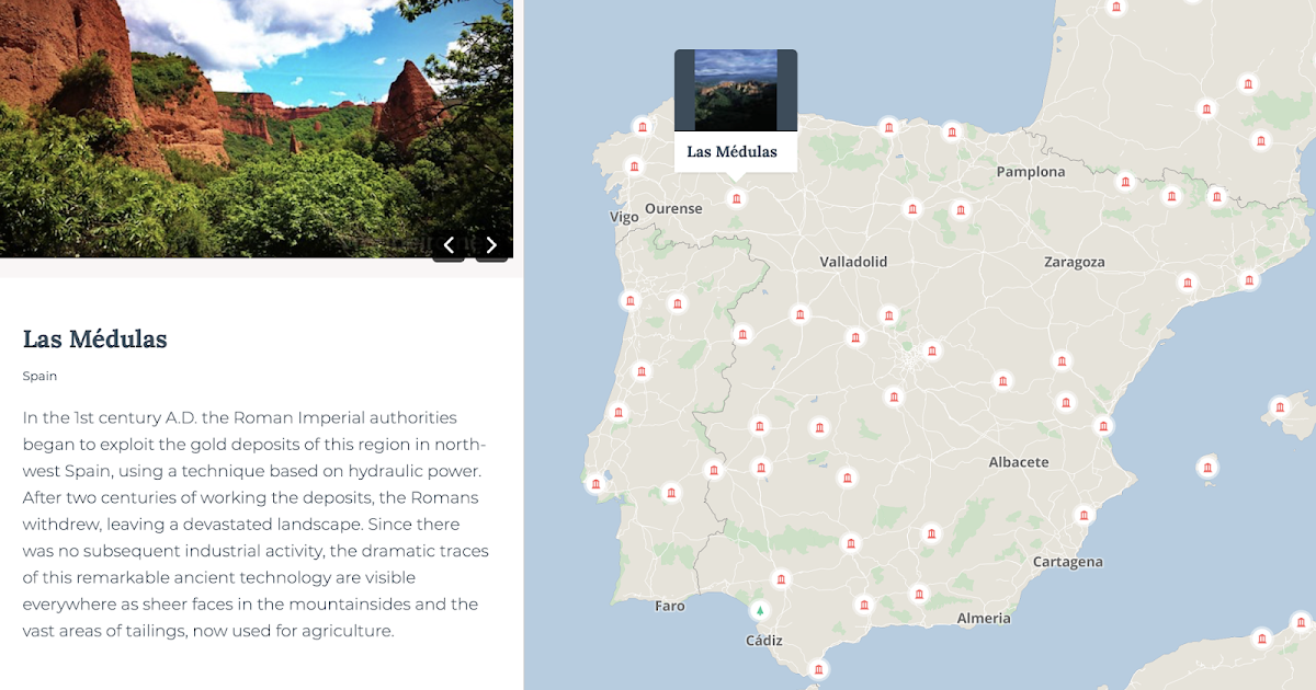 Monumap - Mapa interactivo para descubrir y conocer más de 1.000 lugares declarados Patrimonio Mundial por la UNESCO