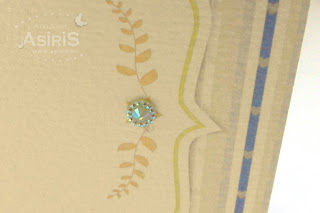 detalii elemente carusel cu perla albastra si frunze aurii
