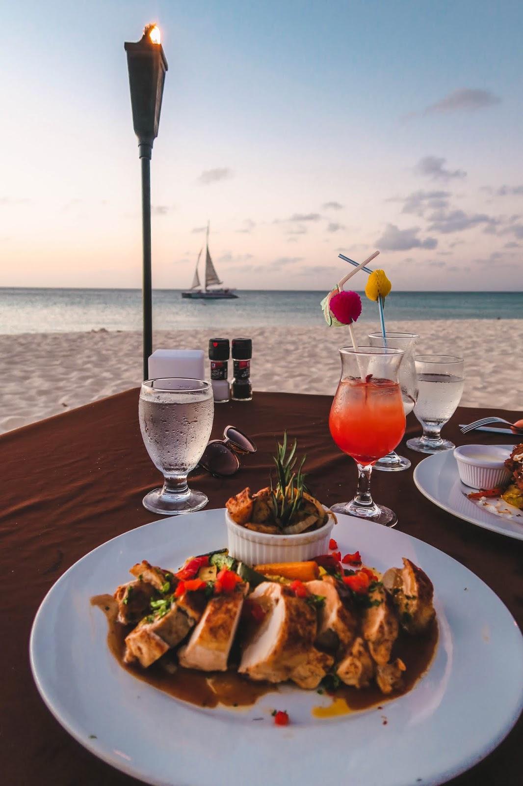 Dinner on the beach Aruba