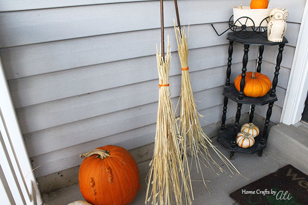 Easy 3 step fall decor broomsticks