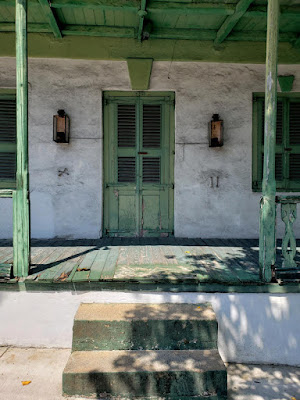 close up of door entrance to old colonial style home