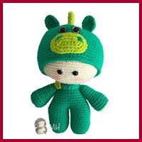 Muñeco yoyo dragón amigurumi
