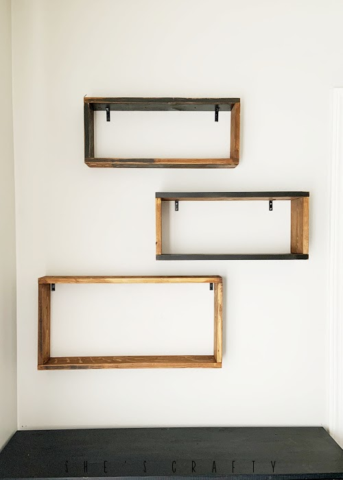 Wall Shelves mounted on the wall with dry wall anchors.