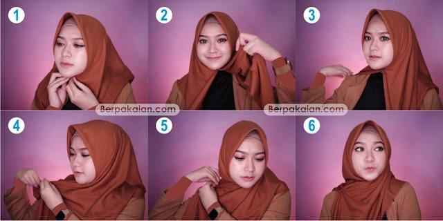 Style Ketiga Tutorial Hijab Segi Empat pada saat Terburu-buru Simple dan Modis