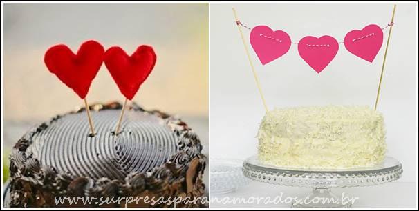 topo de bolo romântico