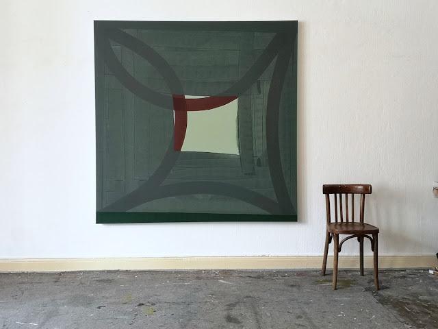 """Michel Carmantrand A FANLIGHT ON THE SLAB, 170x170x4cm (67x67x1.6""""), acrylic paint on canvas."""