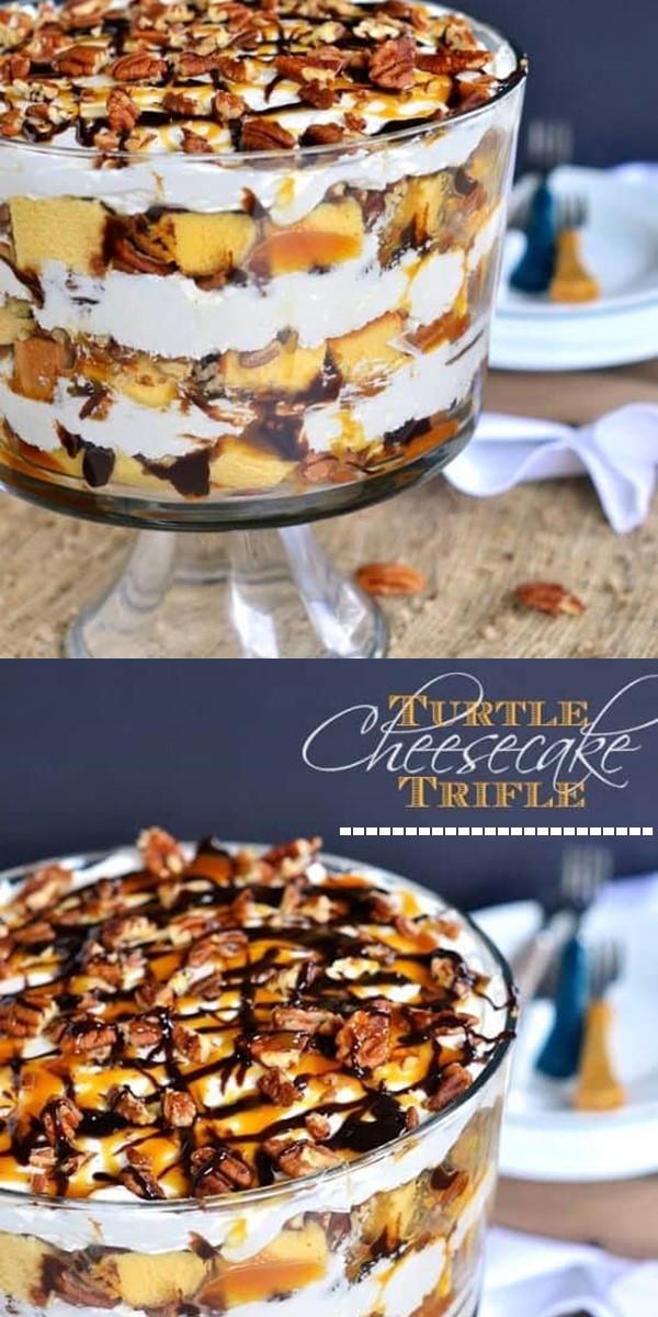 Turtle Cheesecake Trifle #Dessertrecipes