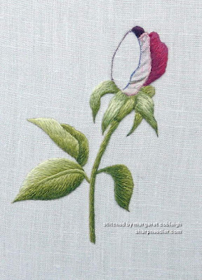 Preparing to re-embroider the Trish Burr needlepainted rosebud