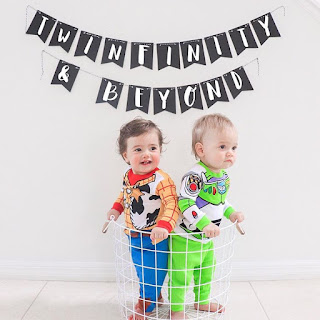 Twin Halloween costumes with Woody and Buzz from Toy Story