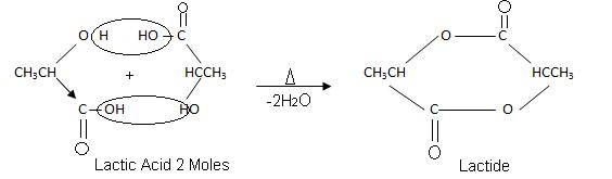 Lactic acid Reaction involving Action of Heat.
