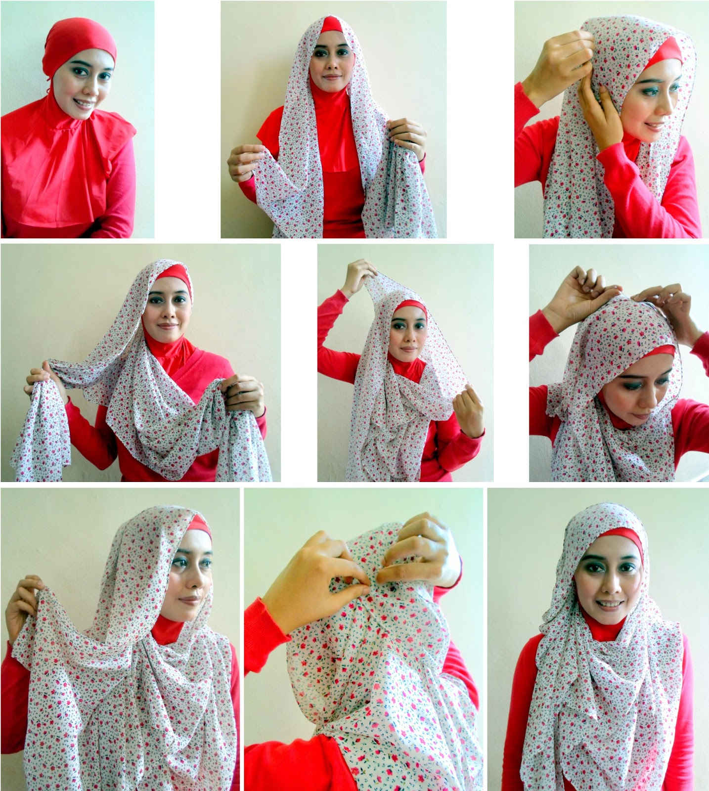 Tutorial Hijab Pashmina Motif Bunga Cantik