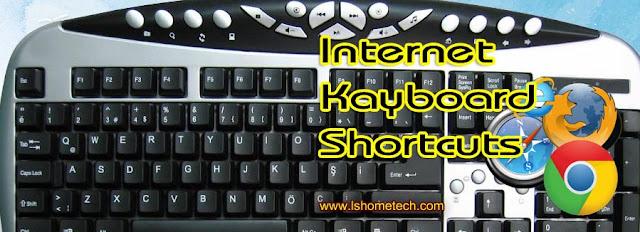 इंटरनेट ब्राउज़र की-बोर्ड शॉर्टकट