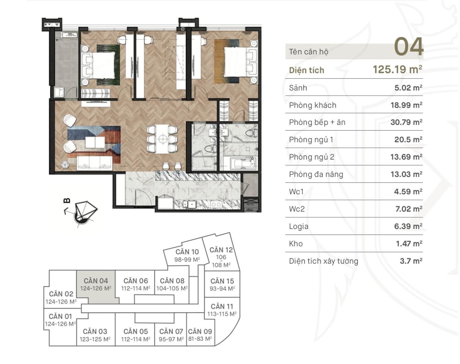 Thiết kế căn hộ 04 chung cư King Palace