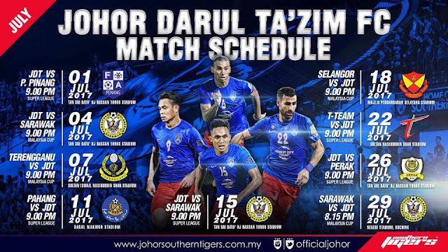 Jadual Perlawanan JDT 2017 Liga Malaysia