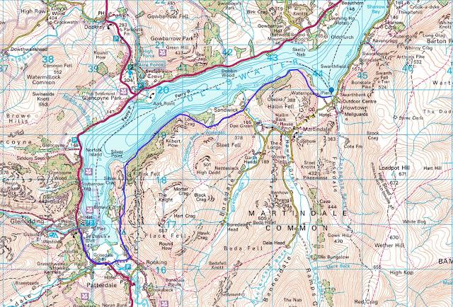Howtown to Glenridding walk map Ullswater best walk