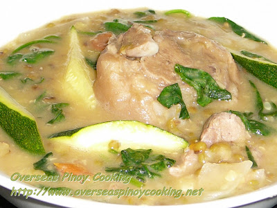 Mung Beans with Pork Pata and Zucchini