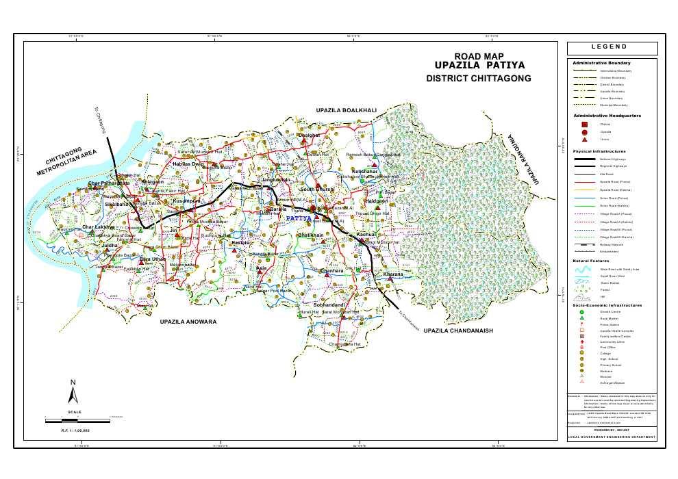 Patiya Upazila Road Map Chittagong District Bangladesh