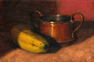 Oil painting of a banana beside a small copper pot.