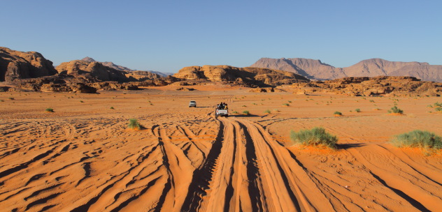 Exotic desert highway of Wadi Rum, Jordan