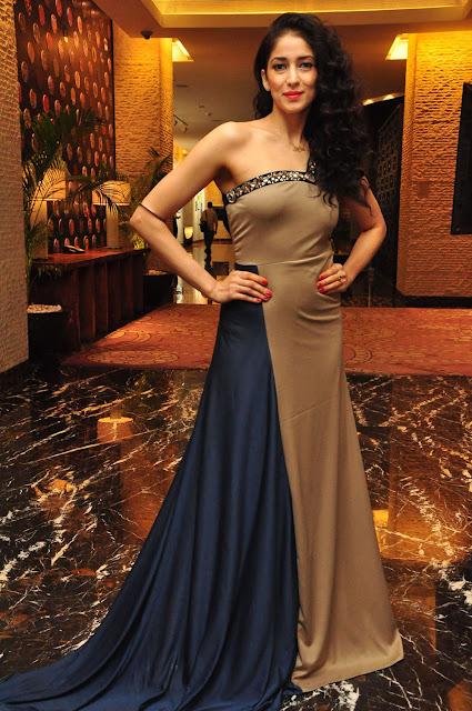 Miss Asia 2007 Runner up Neha Ahuja Flaunts her Slim Figure in Strapless Beige Gown
