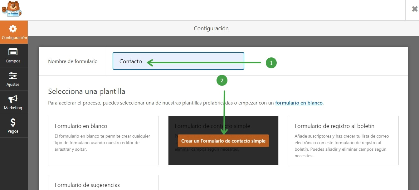 crear formulario contacto
