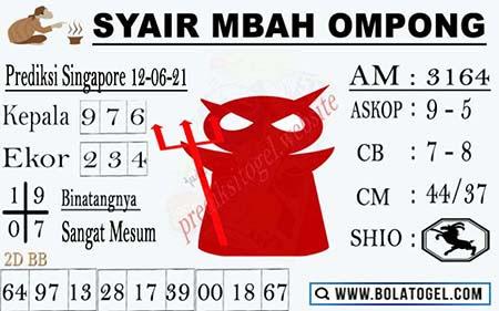 Syair Mbah Ompong SGP Sabtu 12-06-2021