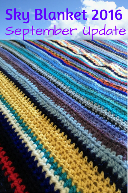 Sky Blanket took a break last month, what with it being the summer holidays and all. But I am back with the crochet this month, so here's the September update in this mammoth year-long project.