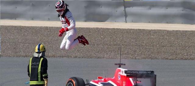 Driver jumping through air
