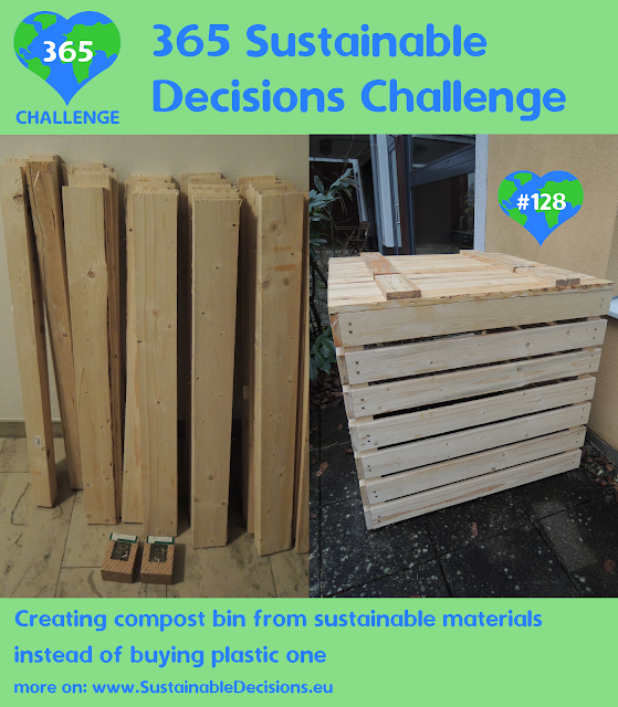 Creating compost bin from sustainable materials instead of buying plastic one reducing plastic waste reducing waste
