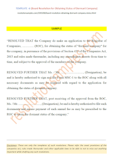 Board Resolution for Obtaining Status of Dormant Company