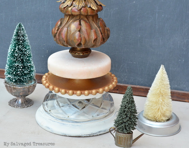 stackable lamp parts repurposed into a Christmas tree