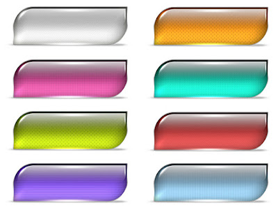 Glossy and shiny curved rectangular web buttons