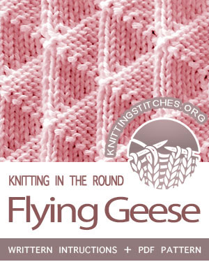 Circular Knitting, Reversible Knitting Pattern. Written instructions for Flying Geese stitch in the round. #CircularKnitting #knittingintheround
