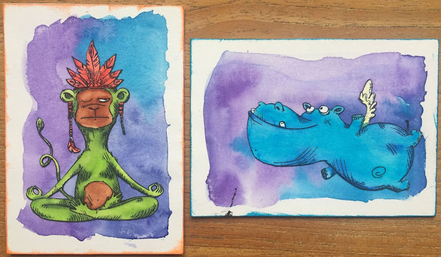 Flying Hippo and Yoga ATC (Artist Trading Card)