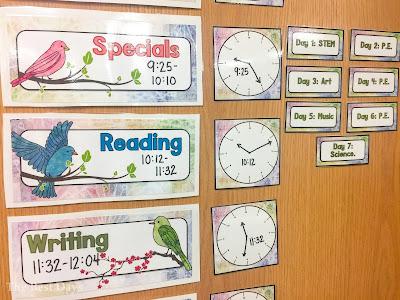 Watercolor Bird Theme Schedule Cards