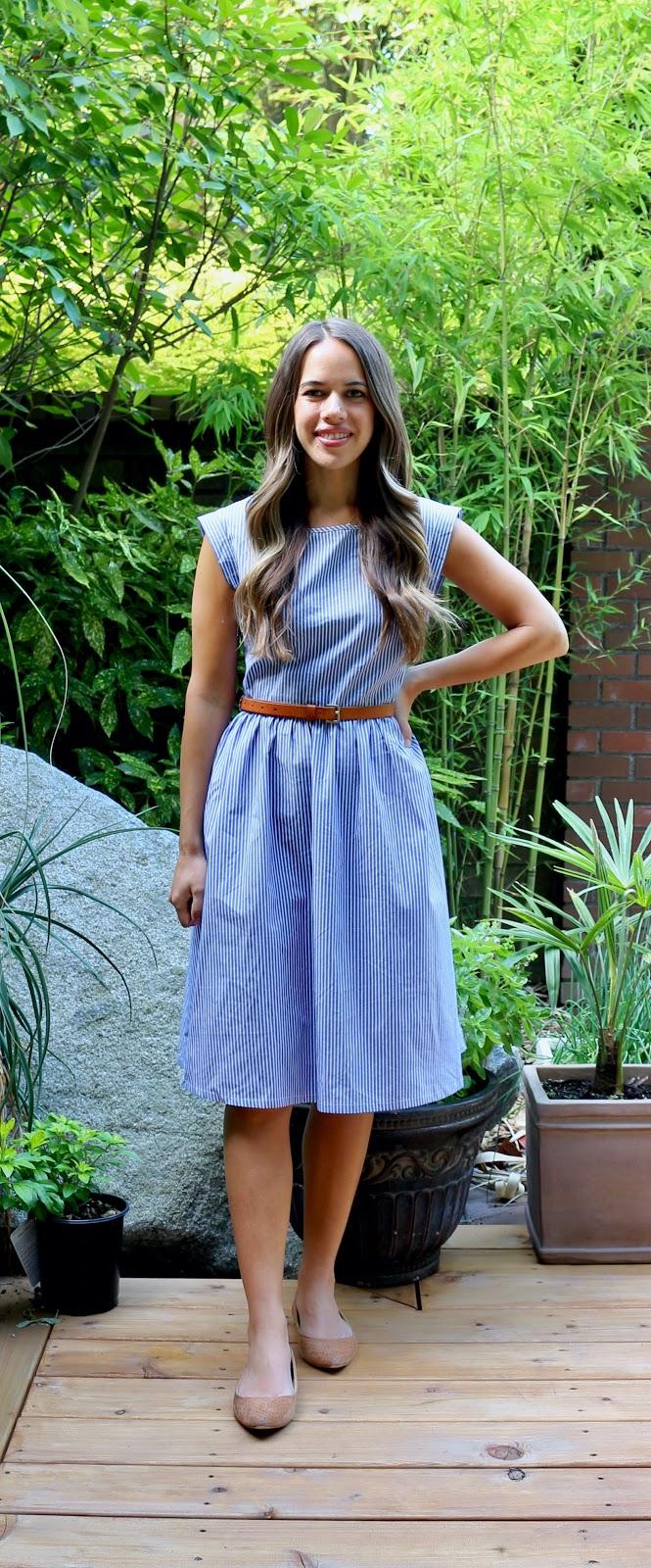 Jules in Flats - Stripe Midi Dress (Business Casual Workwear on a Budget)