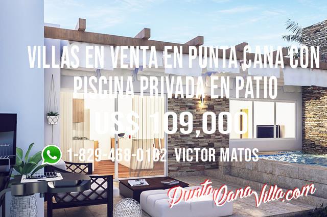 illas en Venta en Punta Cana con Piscina Privada en Patio