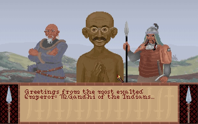Screenshot of Gandhi from Sid Meier's Civilization 1