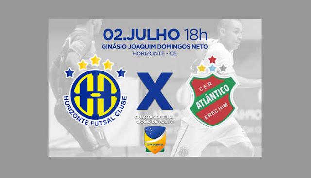 Horizonte busca a virada diante do Atlântico para ir as semis da Copa do Brasil de Futsal.