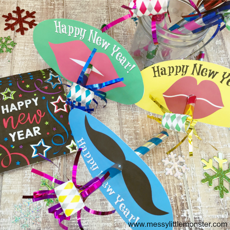celebrate new years eve with kids by making party blowers.